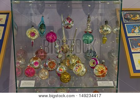 KLIN RUSSIA - JANUARY 16 2016: Old Christmas toys - balls spotlights. The sixties of the twentieth century. Museum of Christmas toys.