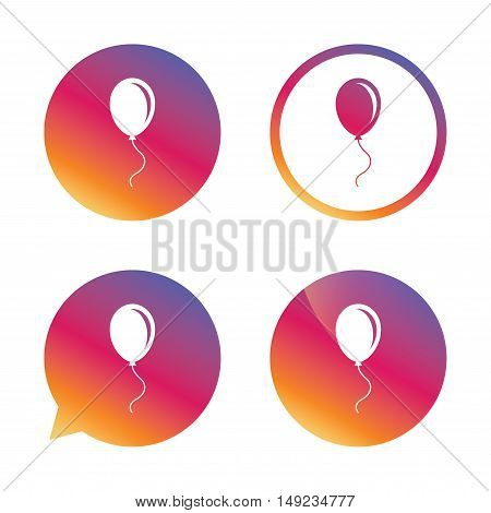 Balloon sign icon. Birthday air balloon with rope or ribbon symbol. Gradient buttons with flat icon. Speech bubble sign. Vector