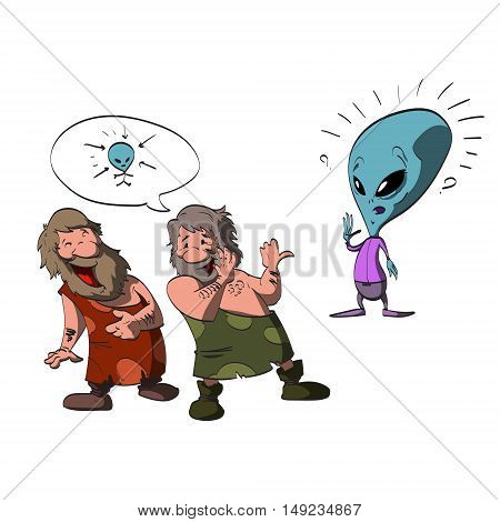 Colorful cartoon illustration of two ignorant stupid caveman making fun of a friendly alien's big head waving and greeting them.