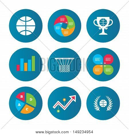 Business pie chart. Growth curve. Presentation buttons. Basketball sport icons. Ball with basket and award cup signs. Laurel wreath symbol. Data analysis. Vector
