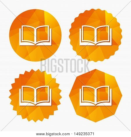 Book sign icon. Open book symbol. Triangular low poly buttons with flat icon. Vector