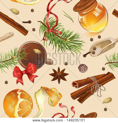 Vector vintage Christmas seamless pattern with pine branches, tea cup and spices. Background design for cafe menu, advertising flyer, greeting card. Best for wrapping paper