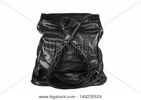 luxury leather black bag with sling and handle or loop for women on white and back view isolated included clipping path