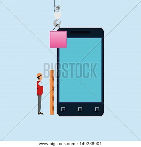 construction worker with workforce related icons image vector illustration