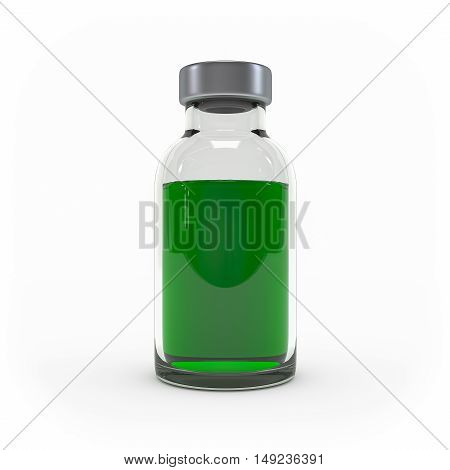 Medicine Injection Bottle Isolated On White Background 3D Rendering