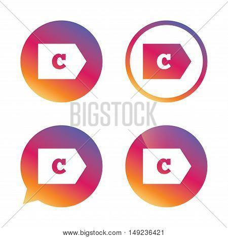 Energy efficiency class C sign icon. Energy consumption symbol. Gradient buttons with flat icon. Speech bubble sign. Vector