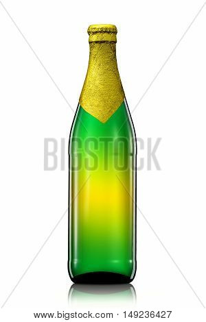 Bottle of beer with golden foil and clipping path isolated on white background