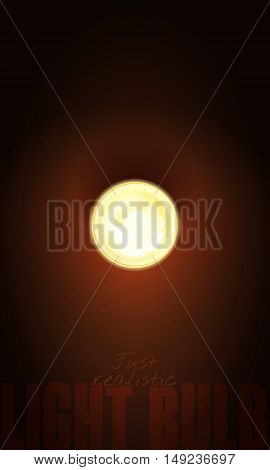 Vector Realistic 3D Illustration Burning Light Bulb. The Blank Template To Design Signs Or Garland I