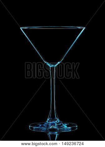 Silhouette of blue martini glass with clipping path on black background.