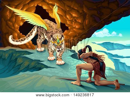 Elf is dealing with a winged lynx. Fantasy vector illustration.