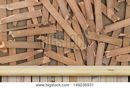blank modern and classic front or side view wood table for your pattern and place objects on fracture wooden wall background carpenter and labor feel