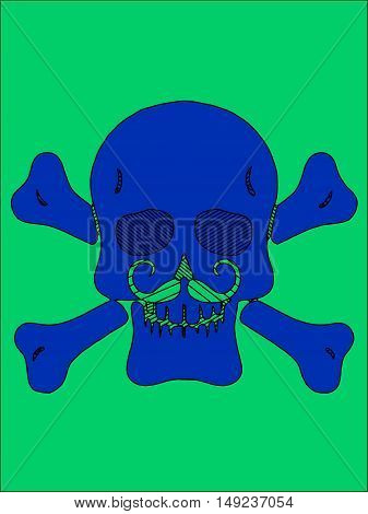 blue skull with bones and mustache and green background