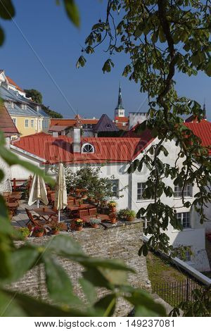 TALLINN, ESTONIA - AUGUST 20, 2016: Cityscape of the Old Town. The Old Town is one of the best preserved medieval cities in Europe and is listed as a UNESCO World Heritage Site