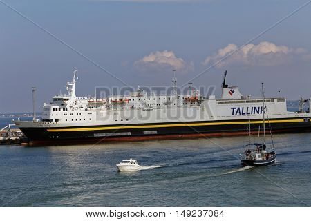 TALLINN, ESTONIA - AUGUST 20, 2016: Ship Sea Wind of Tallink company in the port of Tallinn. Built in 1972, renovated in 1984/1989, the ship has capacity of 119 passengers and 1000 lane meters
