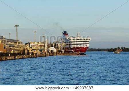HELSINKI, FINLAND - AUGUST 20, 2016: Cruiseferry Viking XPRS of Viking Line in the port of Helsinki. Built in 2008, the ship has capacity for 2500 passengers and 610 cars