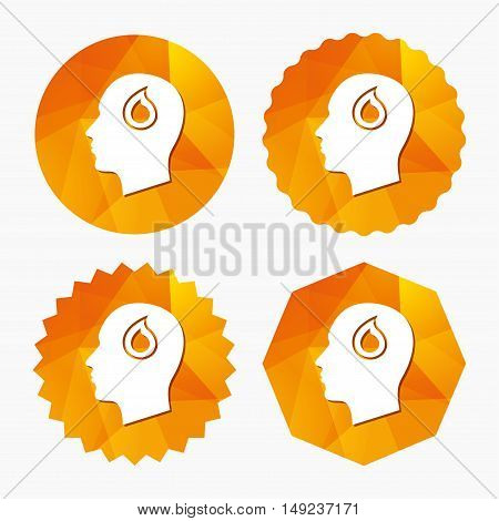Head with blood drop sign icon. Male human head symbol. Triangular low poly buttons with flat icon. Vector