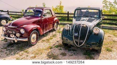 Verona Italy - September 27 2014: Topolino Autoclub Italia organizes a gathering on Lake Garda Sunday September 27 2014. Cars and enthusiasts from all over Italy.