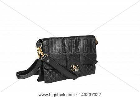 chic and luxury leather black hand bag with sling strap and zipper for woman on white background and side view isolated included clipping path