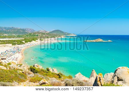 Panorama of the wonderful beaches of Chia Sardinia Italy.