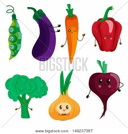 Funny vegetables: peas eggplant carrots peppers lettuce onions beets