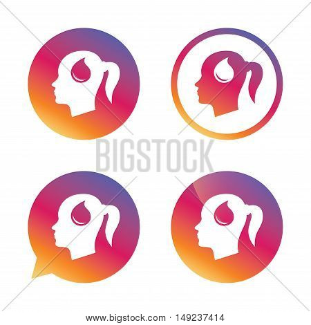 Head with blood drop sign icon. Female woman human head symbol. Gradient buttons with flat icon. Speech bubble sign. Vector