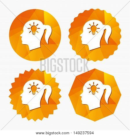 Head with lamp bulb sign icon. Female woman human head idea with pigtail symbol. Triangular low poly buttons with flat icon. Vector
