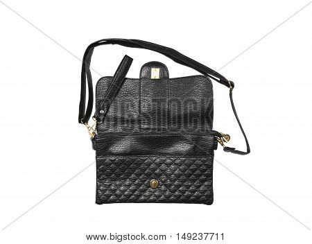 open chic and luxury leather black hand bag with sling strap and zipper for woman on white background and top view isolated included clipping path