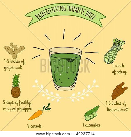 Hand drawn sketch illustration. Recipe and ingredients of healthy and energy drink for restaurant or cafe. Vegan Detox drinks. Gluten free drinks. Vegetarian Smoothie Recipe. Hydration Juice.