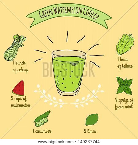 Hand drawn sketch illustration. Recipe and ingredients of healthy energy drink for restaurant or cafe. Vegan Detox drinks. Gluten free drinks. Vegetarian Smoothie Recipe. Watermelon Juice.