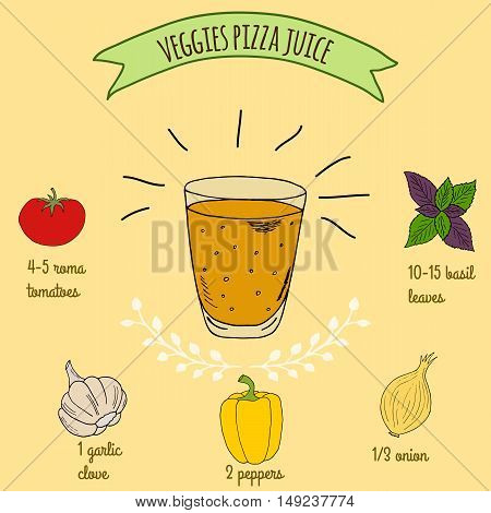 Hand drawn sketch illustration. Recipe and ingredients of healthy energy drink for restaurant or cafe. Vegan Detox drinks. Gluten free drinks. Vegetarian Smoothie Recipe. Vegetable Juice.