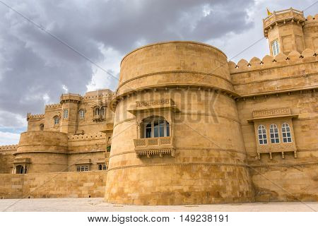 Jaisalmer, India - March 13, 2016: Modern hotel near Jaisalmer that looks like Jaisalmer fort, India.