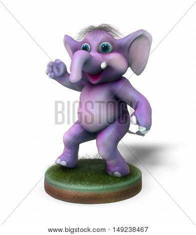 Little cartoon elephant on a white background in 3D illustration