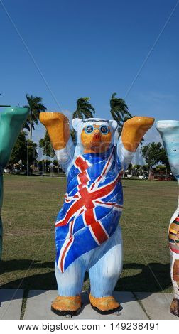 PENANG, MALAYSIA- September 24, 2016: The United Kingdom Bear on display during United Buddy Bears exhibition in Penang.