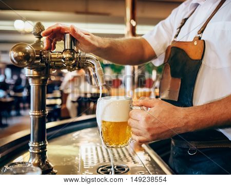 Bartender pouring the fresh beer in one of Czech traditional pubs