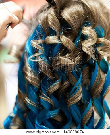 Blue hair extension