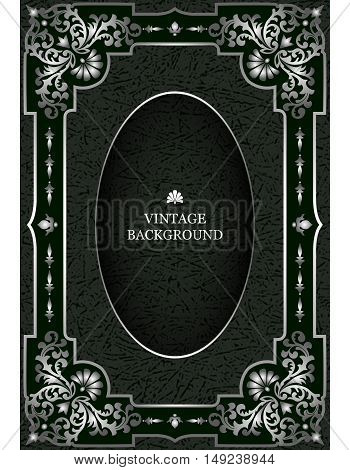 Vector luxury vintage border in the baroque style with silver floral pattern frame. The template for the book covers old royal pages invitations greeting cards certificates diplomas.