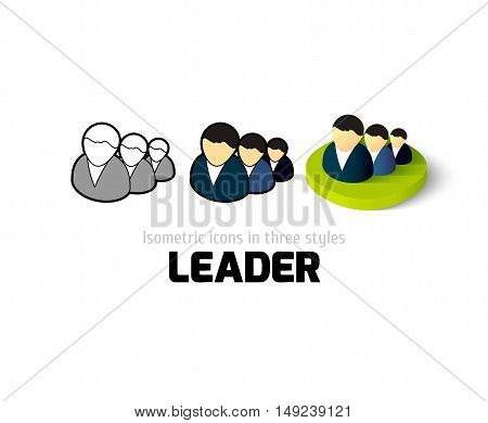 Leader icon, vector symbol in flat, outline and isometric style