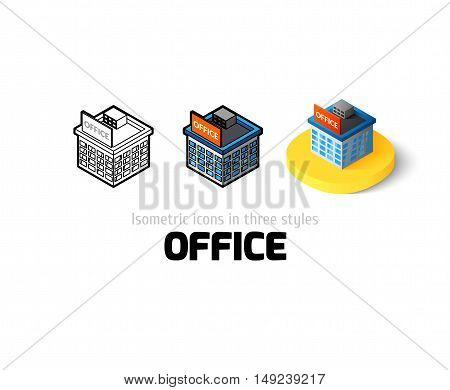 Office icon, vector symbol in flat, outline and isometric style