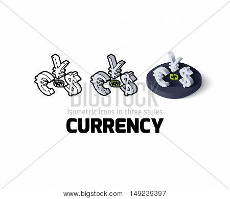 Currency icon, vector symbol in flat, outline and isometric style