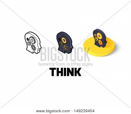 Think icon, vector symbol in flat, outline and isometric style