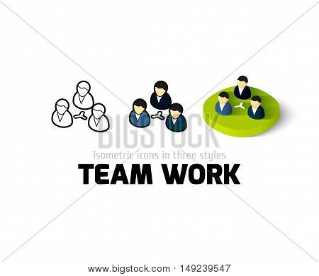 Team work icon, vector symbol in flat, outline and isometric style