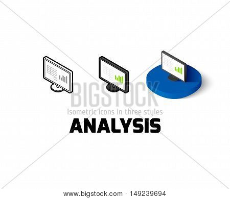 Analysis icon, vector symbol in flat, outline and isometric style