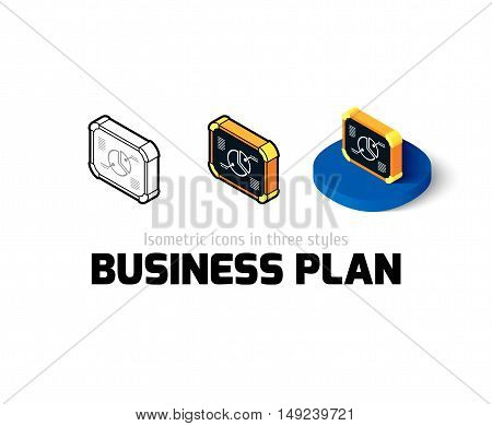 Business plan icon, vector symbol in flat, outline and isometric style