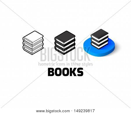 Books icon, vector symbol in flat, outline and isometric style