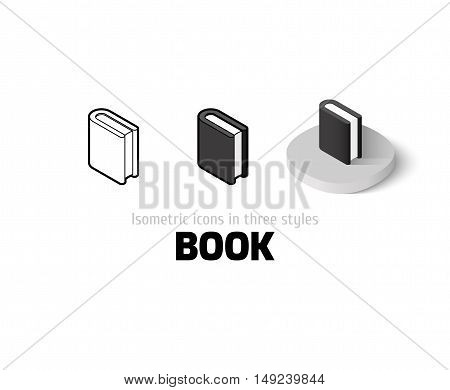 Book icon, vector symbol in flat, outline and isometric style