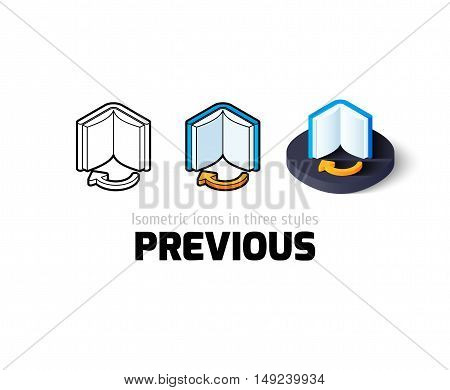 Previous icon, vector symbol in flat, outline and isometric style