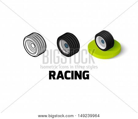 Racing icon, vector symbol in flat, outline and isometric style