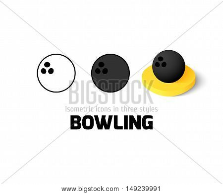 Bowling icon, vector symbol in flat, outline and isometric style