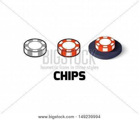 Chips icon, vector symbol in flat, outline and isometric style