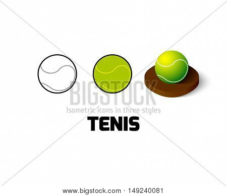 Tennis icon, vector symbol in flat, outline and isometric style